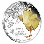 2017 Tuvalu Cute Baby Rooster 1/2 Oz Silver Proof 50c Coin Lunar Year Colorized