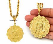 Mens 14k Gold Filled God Jesus Pendant 316 Stainless Steel Rope Chain Necklace