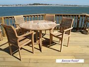 Windsor's Genuine Grade A Teak, 39 Round Dropleaf Table W/4 Stacking Chairs