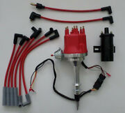 Small Cap Amc/jeep Inline 6 232-258 Hei Distributor +red Plug Wires + Black Coil