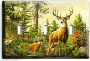 Whitetail Wild Deer Buck Antlers Triple Light Switch Wall Plate Cover Home Decor