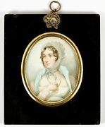 Antique Hp Georgian Portrait Miniature Long Gold Chain - Jewelry And Costume