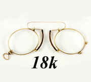 Antique 18k Gold French Pince Nez Spectacles In Fine Condition Gold Hallmarks