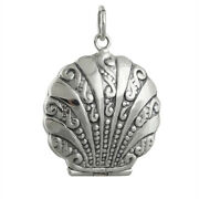 Clam Shell Locket - 925 Sterling Silver - Holds 2 Photos Beach Sea Nautical New