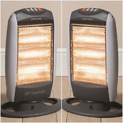 2x Daewoo 1200w Portable Home And Office Electric Oscillating 3 Bar Halogen Heater