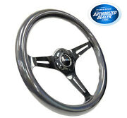 Nrg 350mm Steering Wheel Classic Chameleon Wood Grain Black Spoke St-015bc-cn