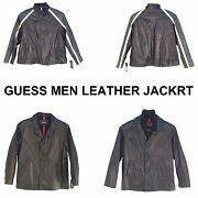 Vintage Guess Men 3/4 Long Leather Jacket Assorted See Disruptions Group-2
