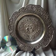 Antique Chinese Hammered Silver Plate Tray Bird Flower Tree Art Stamped Handmade