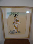 Vintage Japanese Signed Painting On Fabric Of Woman / Geisha W/ Fan