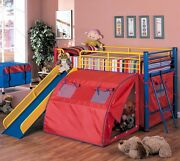 Oates Multicolor Twin Lofted Bed With Slide And Tent Metal Bed Home Kids Bedroom