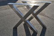 Brushed Stainless X-frame Table/desk/bench Legs - Any Size