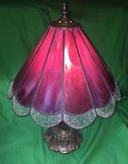 Antique Lamp - Bronze Base And Lead Glass Lampshade- Violet / Magenta