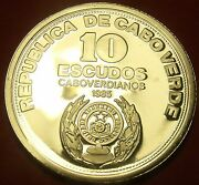 Cape Verde 1985 10 Escudos Rare Silver Proof10th Anniversary Of Independencefs