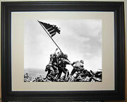 Iwo Jima U.s. Flag Raising Allied Marines World War 2 Wwii Framed Photo