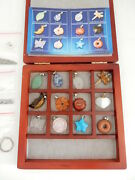 12 Gem Stone Pendants/wooden Box With 7.5 16 24 Chains
