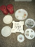 Variety Of China Plates Plus 2 Vintage Candy Tins