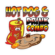 Hot Dog And Drink Combo Concession Restaurant Food Truck Die-cut Vinyl Sticker
