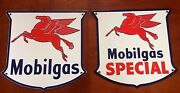 Classic Mobil Gas Special Set Of 2 - Heavy Duty 18 Gauge Steel Porcelain Signs