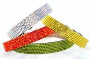 Leather Pet Collar Crystal Dog Cat 8-21andrdquo Breakaway Safety W/ Jewels