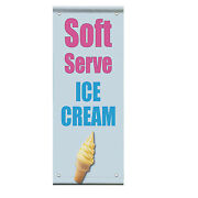Soft Serve Ice Cream Food Fair Promotion Double Sided Vertical Pole Banner Sign