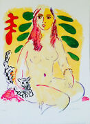 Lady With Cat Edition 8/100 By Wayne Ensrud / Lithograph
