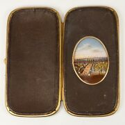 Antique French Eglomise And Leather Cigar Or Spectacles Case, 1867 Paris Expo View