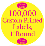 100,000 Printed Labels 1 Round Custom Circle Business Stickers 1-color On Rolls