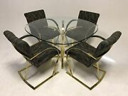 Vintage Cantilever Baughman Dining Mid Century Modern Chair Table Brass Gold Z