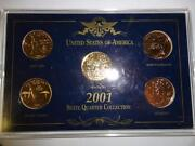 Usa 01 State Quarter Collection. Ny R.i. N.c. Vermont And Kentucky. Gold Plated