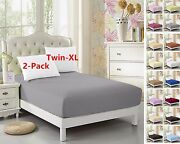 2-pack Twin-xl Fitted Sheet For Split King And Dorm Bed 3980 Extra Long Twin