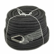 1/2andprime X 150andprime Double Braid Nylon Rope Anchor Line With Thimble Black