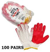 Red Coating Gloves 100 Pairs Work Gloves