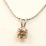 1.07ct Natural Round Cut Diamond Solitaire Pendant Necklace Chain Certified