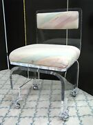 Stylish Vintage 1980and039s Lucite Boudoir Chair With Swivel Base High End Piece