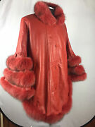 Womens Genuine Leather Cape Real Fox Fur Trim Red One Size Fits All Jacket