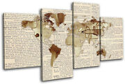 World Atlas Antique Book Maps Flags Multi Canvas Wall Art Picture Print
