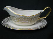 New Pickard Tiara Gold Gravy Boat With Underplate Featuring Applied Gold