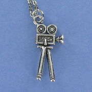 Old Fashioned Movie Camera Necklace - Pewter Charm On Cable Chain Tripod New