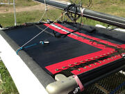 Hobie Cat 14 Non-turbo Trampoline New Black Mesh With Pocket And Red Tough Wrap