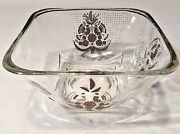 Vtg Mid Century Georges Briard Glass And Gold Square Candy Dip Bowl 5x3 Regency