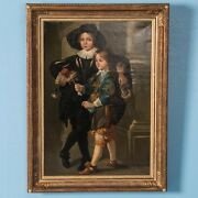 Antique 18th Century Original German Oil Painting Portrait Of Two Young Boys