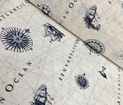Blue Nautical Marine Map Print Fabric - Compass Boat Anchor Material -140cm Wide