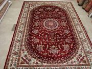 Awesome Ruby Red Floral Oriental Rug Hand Knotted Wool Silk Carpet 10 X 7and039