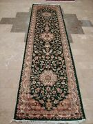 Royal Dark Green Floral Oriental Hand Knotted Runner Wool Carpet 10.1 X 2.7and039