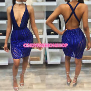 Usa Sexy Women Backless Body Con Sequin Halter 2pc Set Bandage Party Beach Dress