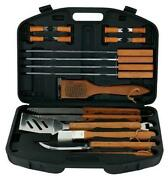 Stainless Steel Barbecue Set Storage Case Bbq Grill Tools 18 Piece Storage New