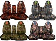 60-40 Hi Back Truck Seat Covers Fit 91-03 Ranger W Console /camouflage W Skull