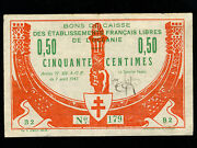 French Oceaniap-750 Centimes1942 Rare Wwii Vf