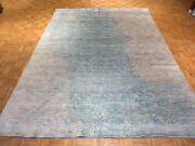 8and0396 X 11and0398 Hand Knotted Modern Gray And Sky Blue Silk Oriental Rug With Silk G1624