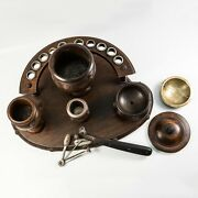 Antique French Smokerand039s Stand Pipe And Tobacco Caddy With Striker And Cutter